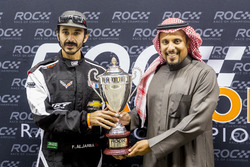 Fala Aljarba is presented with a trophy by Prince Khaled Al Faisal, President of the Motor Federation Of Saudi Arabia after finishing second in ROC Factor Saudi Arabia