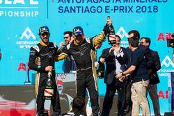 Jean-Eric Vergne, Techeetah, Andre Lotterer, Techeetah enjoy their Mumm Champagne on the podium