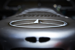 Mercedes Benz logo on the nose of a Mercedes AMG F1 W08