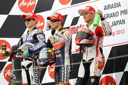 Podium: winner Dani Pedrosa, second place Jorge Lorenzo, third place Alvaro Bautista