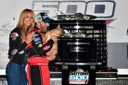 Austin Dillon, Richard Childress Racing Chevrolet Camaro, wife Whitney, and dog Gucci celebrate in victory lane