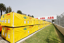 DHL freight arrives at the track