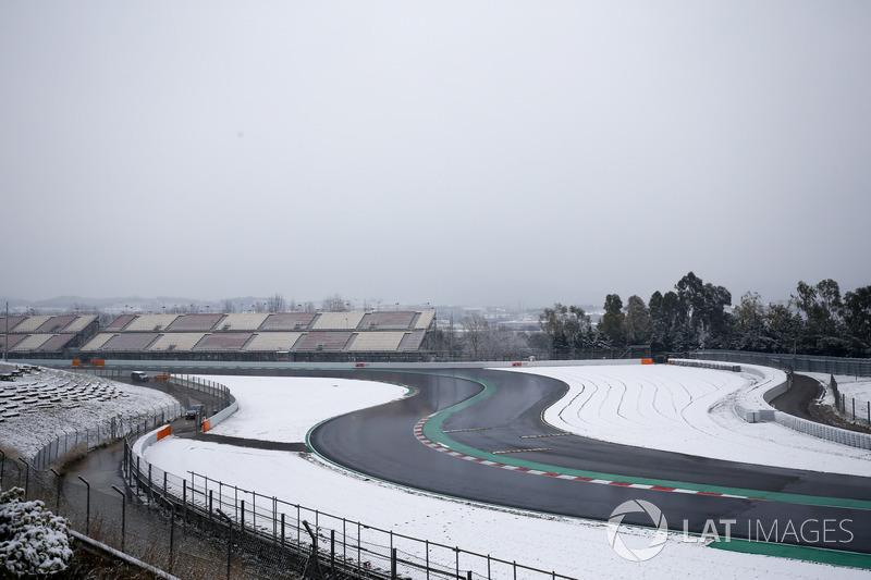 Nieve en el Circuit de Barcelona