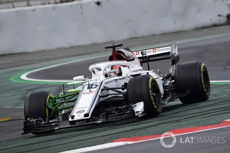 Charles Leclerc, Alfa Romeo Sauber C37, avec du flow-viz sur la suspension avant