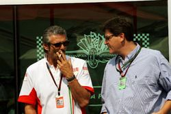 Maurizio Arrivabene, Marlboro Europe Brand Manager talks with Louis Camilleri, CEO of Altria Inc, owner of Philip Morris