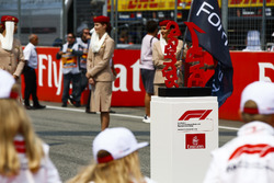 The trophies on the grid prior to the start