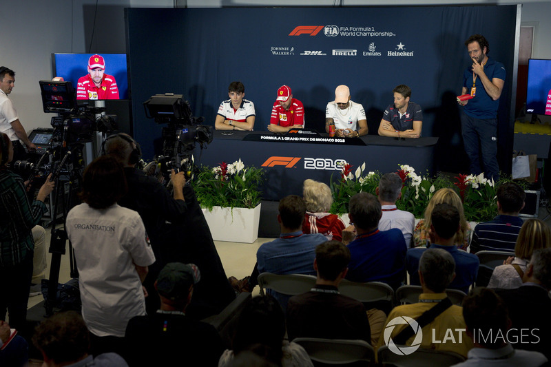 Charles Leclerc, Sauber, Sebastian Vettel, Ferrari, Lewis Hamilton, Mercedes-AMG F1 and Romain Grosjean, Haas F1 in the Press Conference