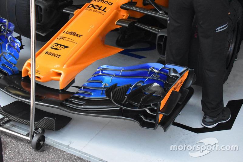 Detalle de la anterior versión del alerón delantero del McLaren MCL33