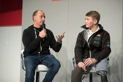 Terry Grant, stunt driver, and Billy Monger on the Autosport stage with Henry Hope-Frost