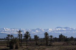 A view of the Atlas Mountains from the circuit
