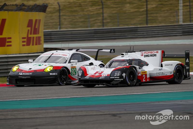 #2 Porsche Team Porsche 919 Hybrid: Timo Bernhard, Earl Bamber, Brendon Hartley, #92 Porsche GT Team Porsche 911 RSR: Michael Christensen, Kevin Estre
