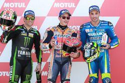 Top 3 after qualifying: Polesitter Marc Marquez, Repsol Honda Team, Johann Zarco, Monster Yamaha Tec