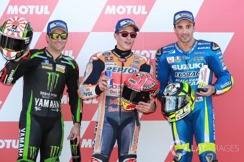 Ganador de la pole Marc Márquez, Repsol Honda Team, Johann Zarco, Monster Yamaha Tech 3, Andrea Iannone, Team Suzuki MotoGP