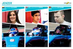 Jenzer Motorsport et ses pilotes : Tatiana Calderón, Juan Manuel Correa et David Beckmann