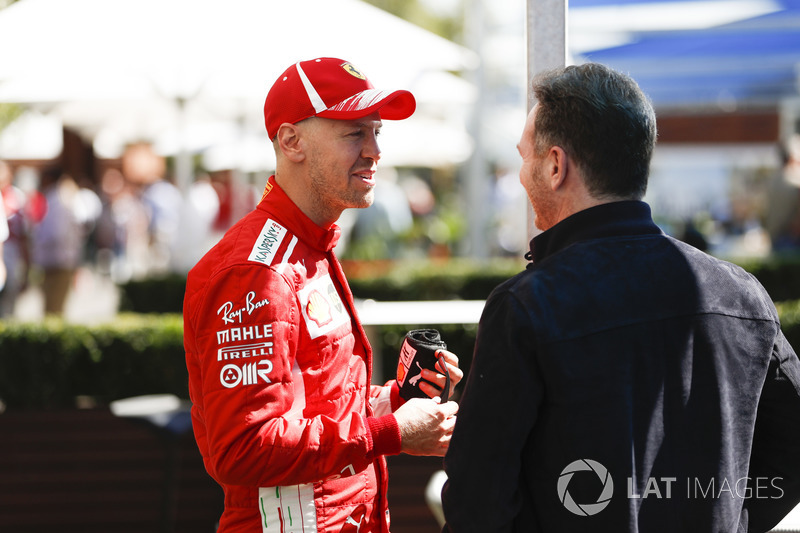 Sebastian Vettel, Ferrari, Christian Horner, Team Principal, Red Bull Racing