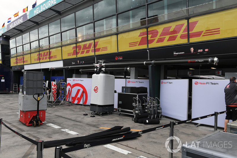 Haas F1 Team pit box preparations