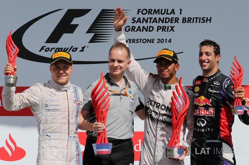 2014: 1. Lewis Hamilton, 2. Valtteri Bottas, 3. Daniel Ricciardo