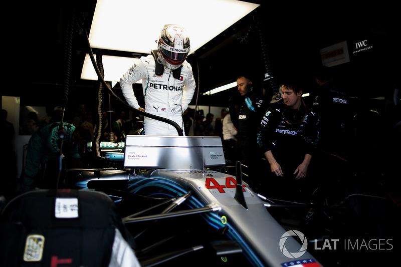 Lewis Hamilton, Mercedes AMG F1, in the garage