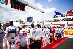 The drivers lined up on the grid prior to the start