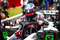 Romain Grosjean, Haas F1 Team, exits his cockpit on the grid