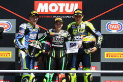 Podium: race winner Ana Carrasco, second place Borja Sanchez, third place Kevin Sabatucci
