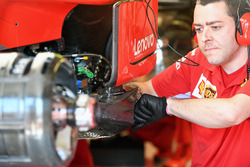 Ferrari mechanic works on Ferrari SF71H