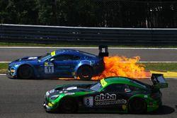 SPA-FRANCORCHAMPS, BELGIUM - JULY 22: Fire for Mark Farmer / Nicki Thiim TF Sport Aston Martin V12 Vantage GT3 during the Spa-Francorchamps at Spa-Francorchamps on July 22, 2018 in Spa-Francorchamps, Belgium. (Photo by LAT Images)