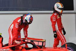 Kimi Raikkonen, Ferrari e Sebastian Vettel, Ferrari nel parco chiuso