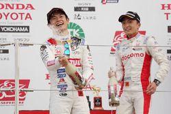 Podium: race winner Naoki Yamamoto, Team Mugen, third place Tomoki Nojiri, Dandelion Racing