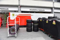 Ferrari garage and Pirelli tyres