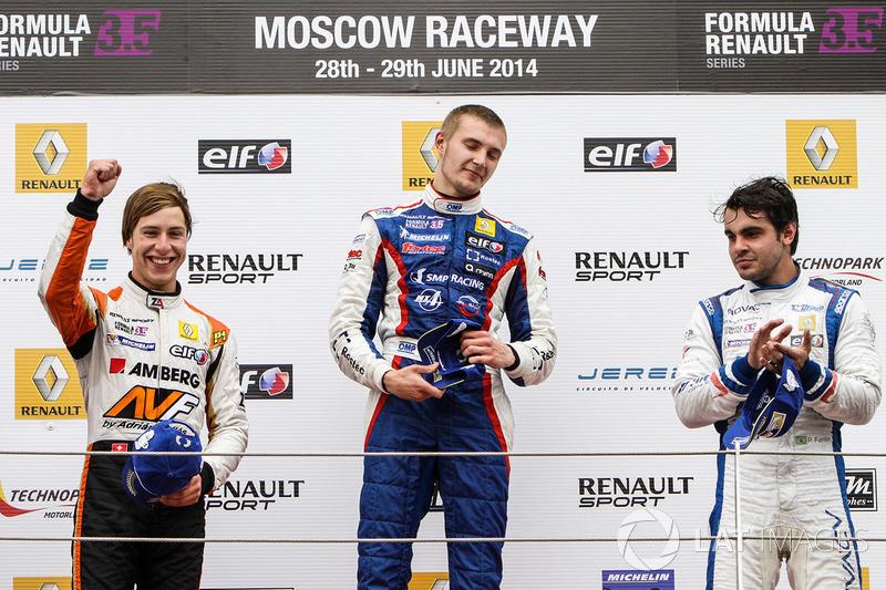 Podium : le vainqueur Sergey Sirotkin, Fortec, le deuxième Zoel Amberg, AVF, le troisième Pietro Fantin, International Draco Racing