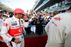 Lewis Hamilton, McLaren, tijdens de rijdersparade