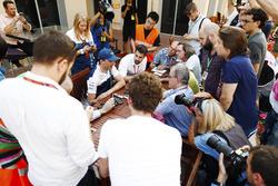 Robert Kubica, Williams, talks to reporters