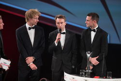 WEC Champions Brendon Hartley, Timo Bernhard and Earl Bamber on stage