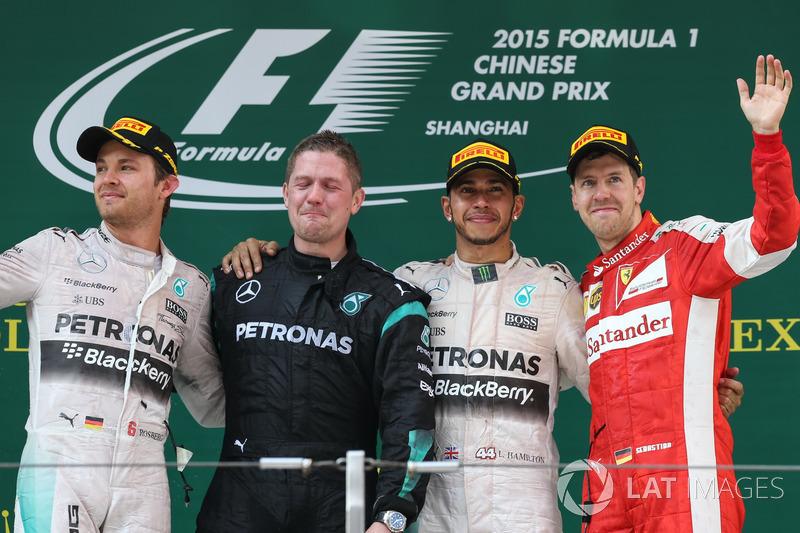 2015: 1.Lewis Hamilton, 2. Nico Rosberg, 3. Sebastian Vettel