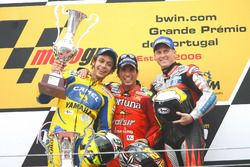 Podium: Race winnner Toni Elias, Fortuna Honda, second place Valentino Rossi, Yamaha, third place Ke