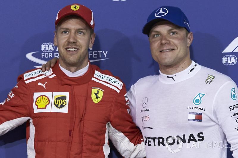 Pole: Sebastian Vettel, Ferrari, Valtteri Bottas, Mercedes AMG F1