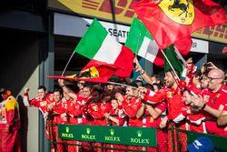 Ferrari celebrates in parc ferme