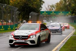 The Safety Car leads Jamie Whincup, Triple Eight Race Engineering Holden, Scott McLaughlin, DJR Team
