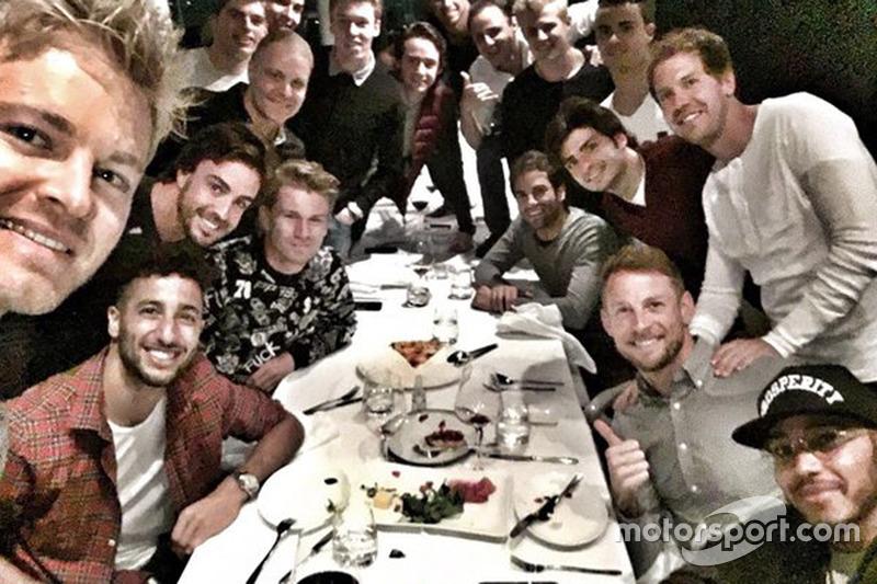 Nico Rosberg, Fernando Alonso, Daniel Ricciardo, Nico Hulkenberg, Valtteri Bottas, Max Verstappen, D