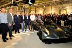 (l-r) David King- Vice President & Chief Special Operations Officer, Aston Martin Lagonda Ltd, Marek Reichman- Executive Vice President & Chief Creative Officer, Aston Martin Lagonda Ltd, Andy Palmer- President & Chief Executive Officer, Aston Martin Lagonda Ltd, Adrian Newey, the Chief Technical Officer of Red Bull Racing, Red Bull Racing Team Principal Christian Horner and Daniel Ricciardo of Australia and Red Bull Racing stand next to the AM-RB 001 at the Aston Martin and Red Bull Racing Project AMRB 001 Unveil