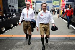 Dr. Helmut Marko and Red Bull Racing Team Manager Jonathan Wheatley wear lederhosen