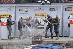 Podium: race winners Cameron Cassels, Trent Hindman, Bodymotion Racing, second place Tyler McQuarrie, Tilt Bechtolscheimer, CJ Wilson Racing, third place Daniel Burkett, Marc Miller, CJ Wilson Racing are celebrating with champagne