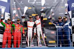 Podium from left: second place Jon Minshaw, Phil Keen, winners Derek Johnston, Jonny Adam, third place Andrew Howard, Ross Gunn