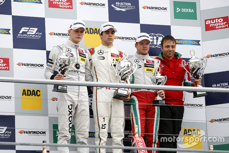 Podio: ganador de la carrera Lance Stroll, Prema Powerteam Dallara F312 - Mercedes-Benz; segundo lugar Maximilian Günther, Prema Powerteam Dallara F312 - Mercedes-Benz; tercer lugar Nick Cassidy, Prema Powerteam Dallara F312 - Mercedes-Benz