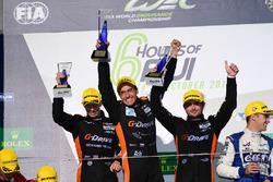 Podium LMP2: race winners #26 G-Drive Racing Oreca 05 - Nissan: Roman Rusinov, Alex Brundle, Will St