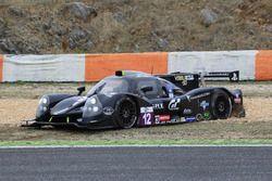 #12 Eurointernational Ligier JSP3 Nissan: Rik Breuke, Andrea Dromedari in the gravel