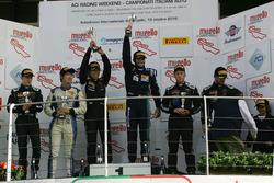 Podio Gara 1 Super GTCup: al secondo posto Nemoto-Costa, Vincenzo Sospiri Racing, i vincitori Deside