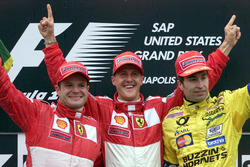 Podium: second place Rubens Barrichello, Ferrari; Race winner Michael Schumacher, Ferrari; third place Heinz Harald Frentzen, Jordan