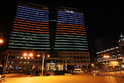 The Hilton hotel at night